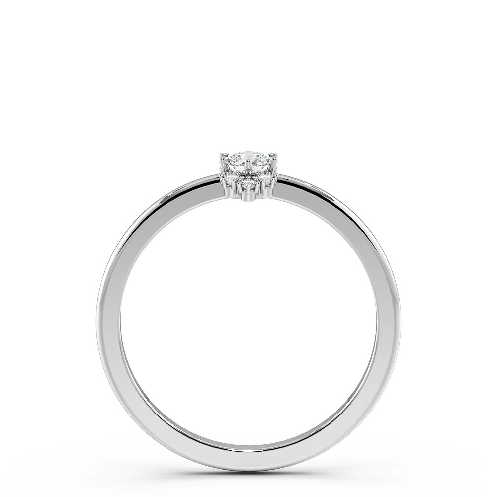 Pave Setting Cluster Minimalist Solitaire Diamond Engagement Rings