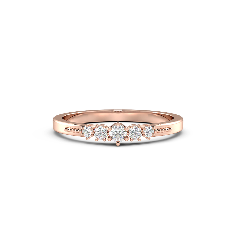 Round 4 Prong Petit Miligrain Half Eternity Diamond Ring