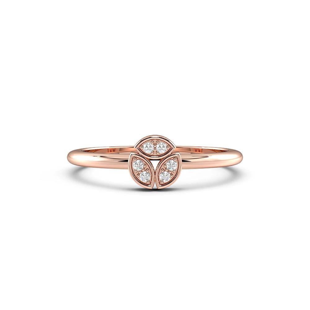 Round Pave Setting Modern Minimalist Designer Diamond Ring