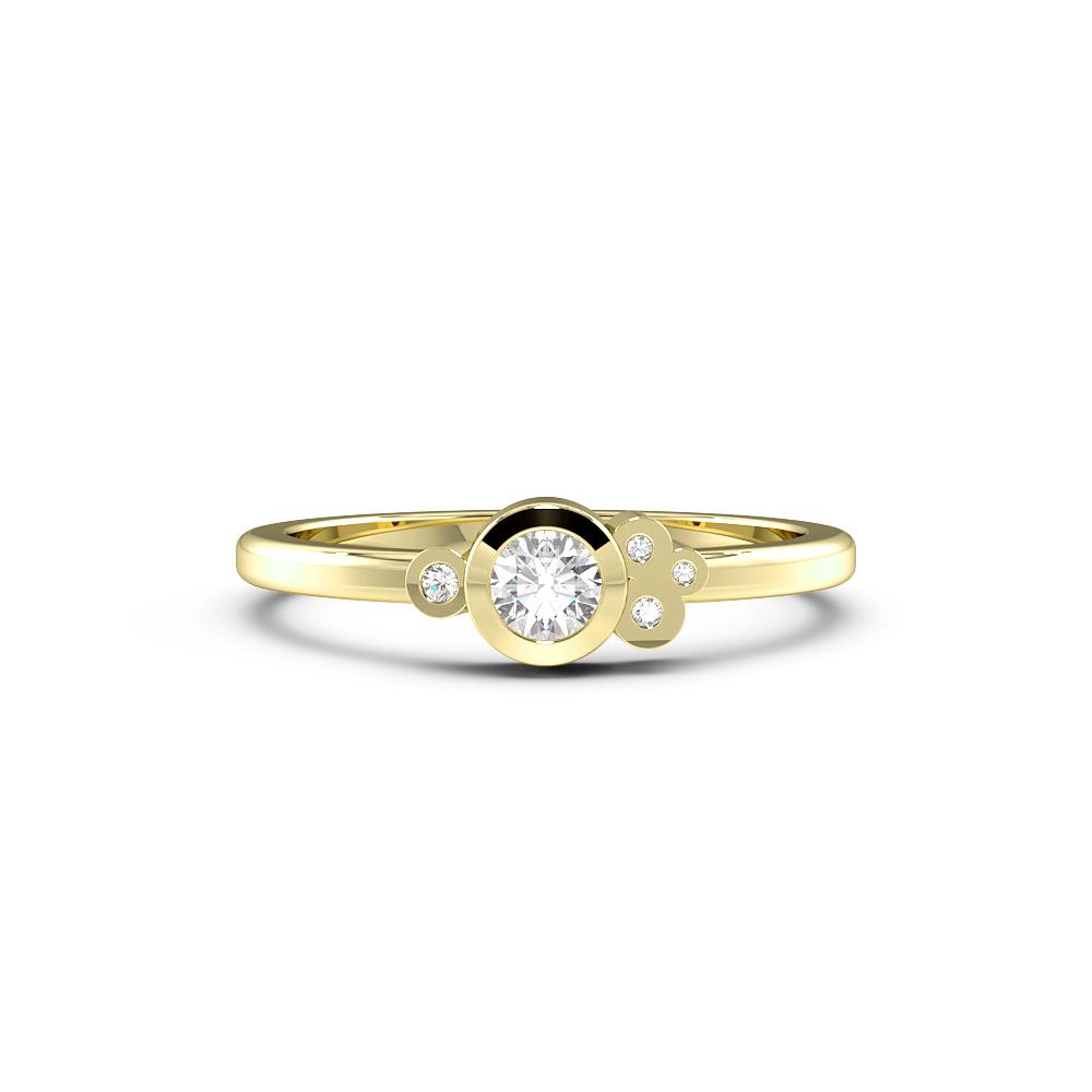 Round Bezel Setting Minimalist Cluster Designer Diamond Ring