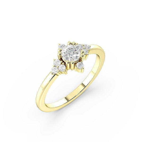 Round 4 Prong Modern Cluster Halo Diamond Engagement Ring