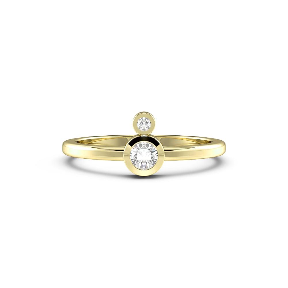 Round Bezel Setting Double Minimalist Designer Diamond Ring