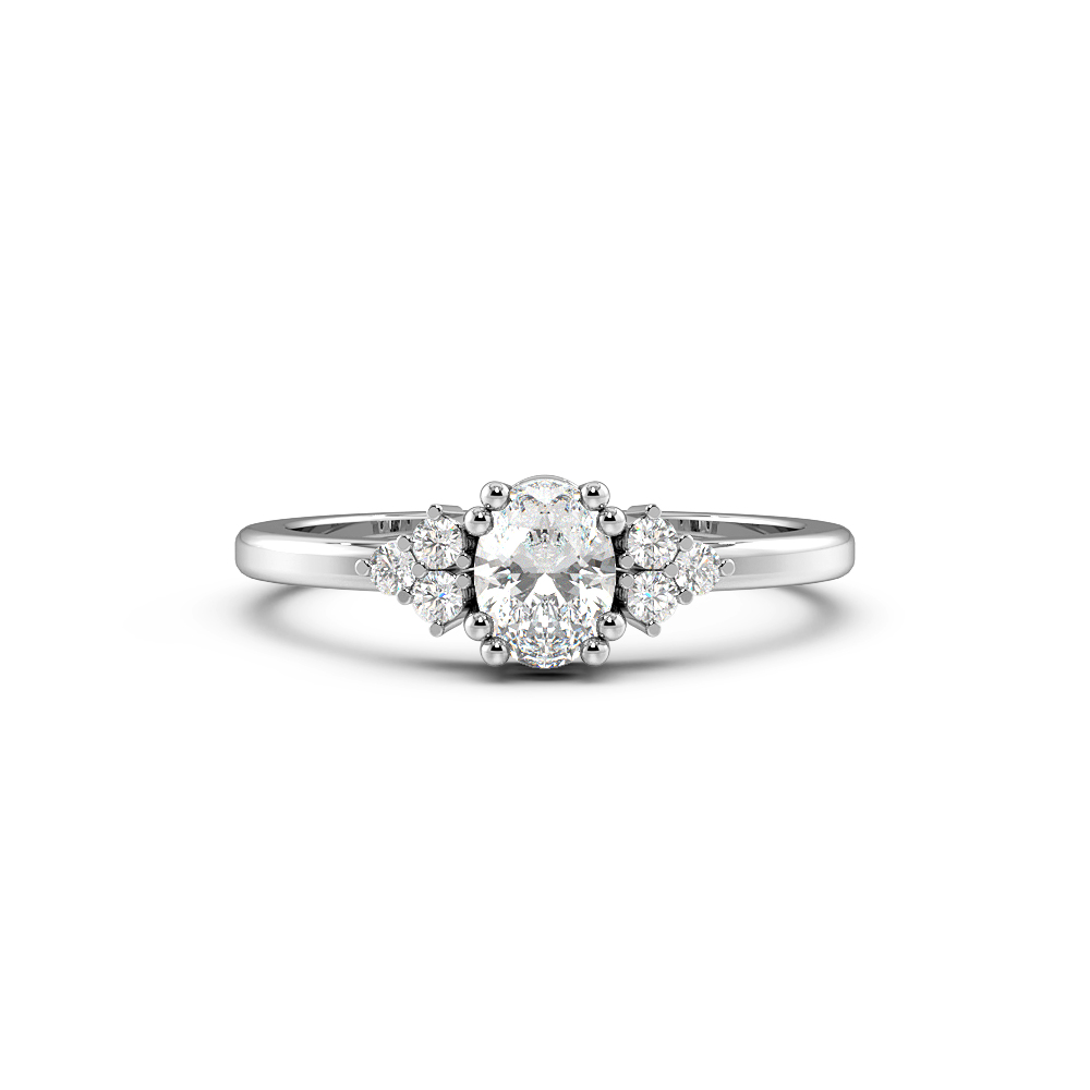 Oval 4 Prong Cluster Designer Engagement Rings