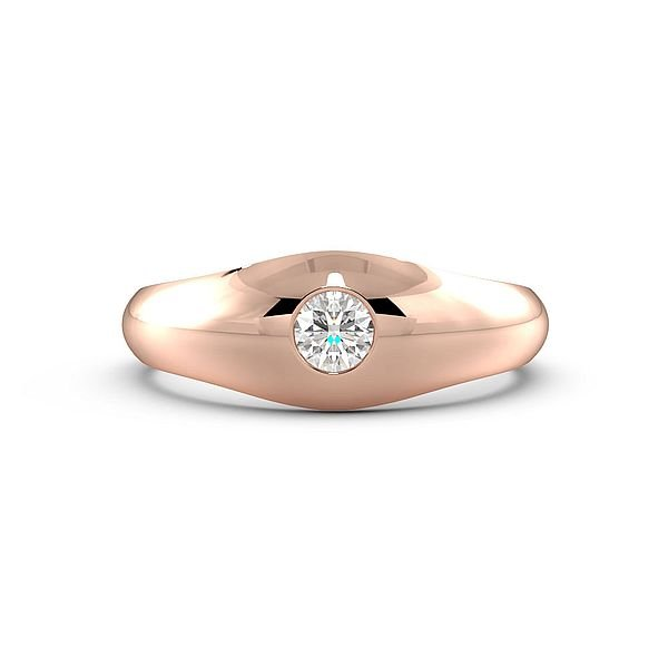 Flush Setting Solitaire Diamond Engagement Ring