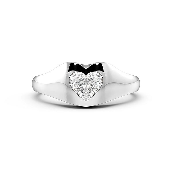 Heart Shape Flush Setting Solitaire Diamond Engagement Ring