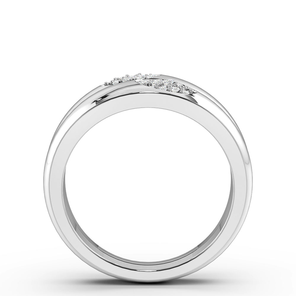 Pave Setting Twin Band Designer Diamond Rings (9.4mm)