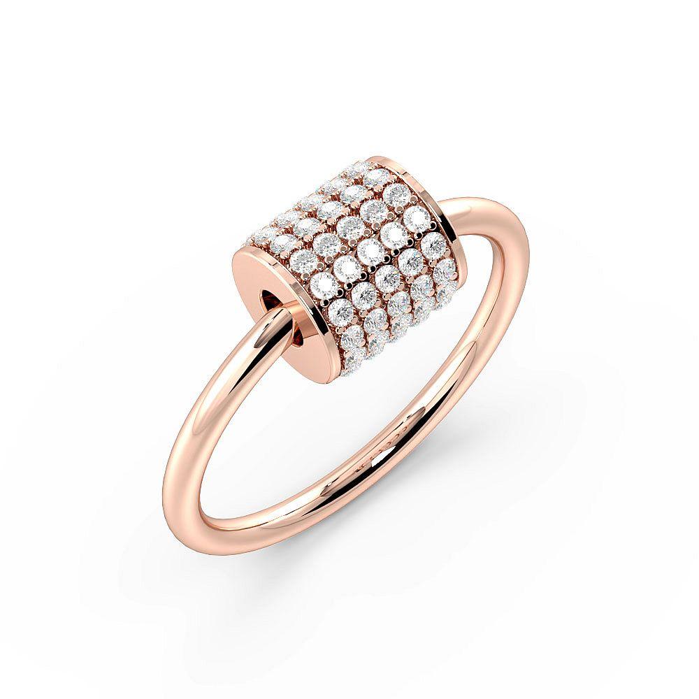 Pave Setting Roller Tube Designer Diamond Rings (5.9mm)