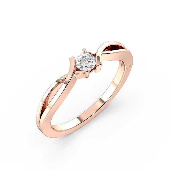 Channel Set Modern Delicate Solitaire Diamond Engagement Ring