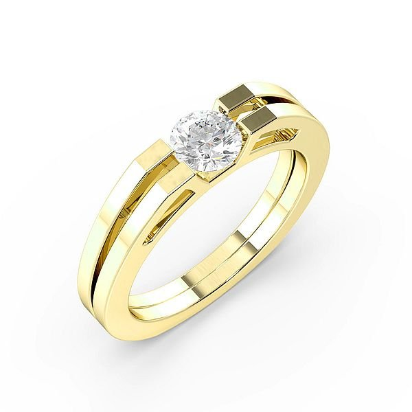 Channel Set 2 Rows Solitaire Diamond Engagement Ring