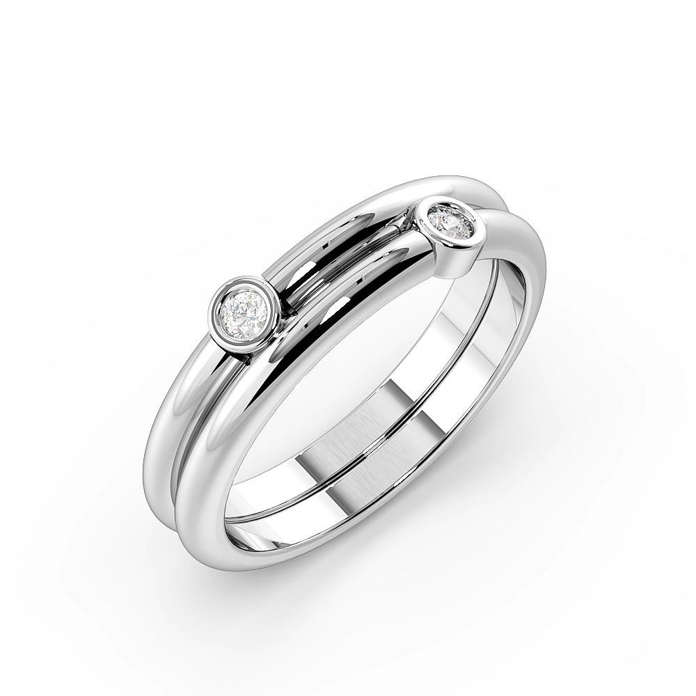 Bezel Setting 2 Stone Designer Diamond Rings (4.9mm)