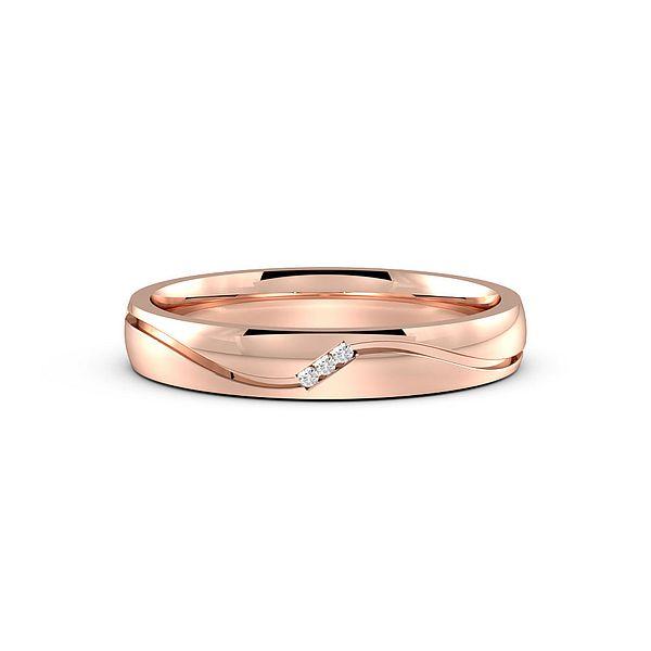 Pave Setting Wavy Diamond Set Wedding Rings (1.5mm)