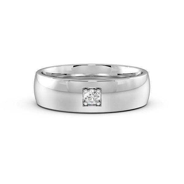 Pave Setting Single Diamond Mens Wedding Rings (1.9mm)
