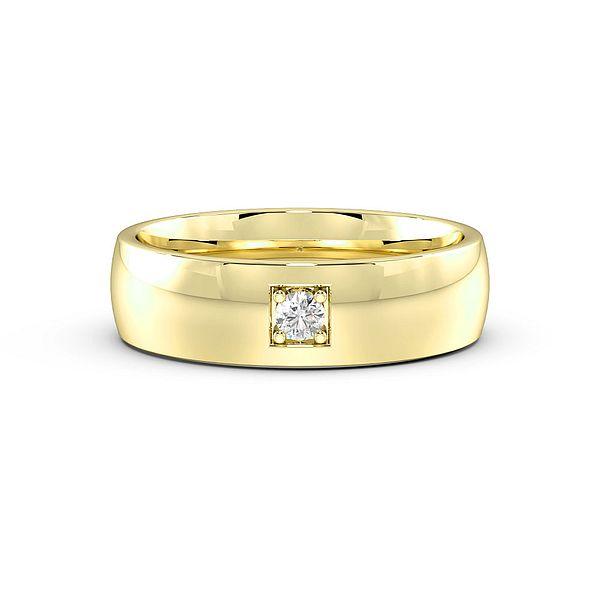 Pave Setting Single Diamond Mens Wedding Rings (1.9mm)