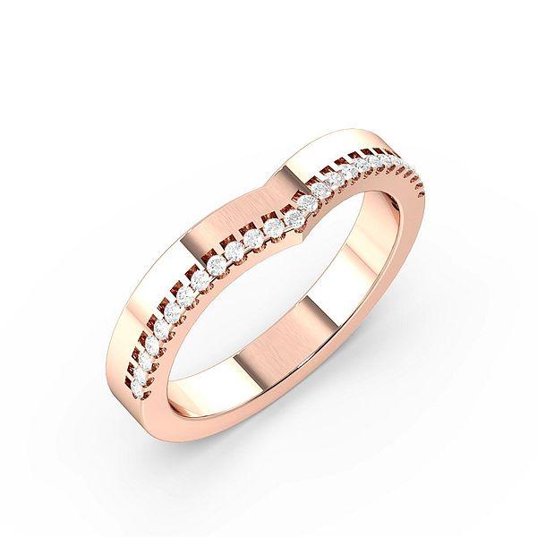 Pave Setting Wishbone Womens Diamond Wedding Rings (1.8mm)