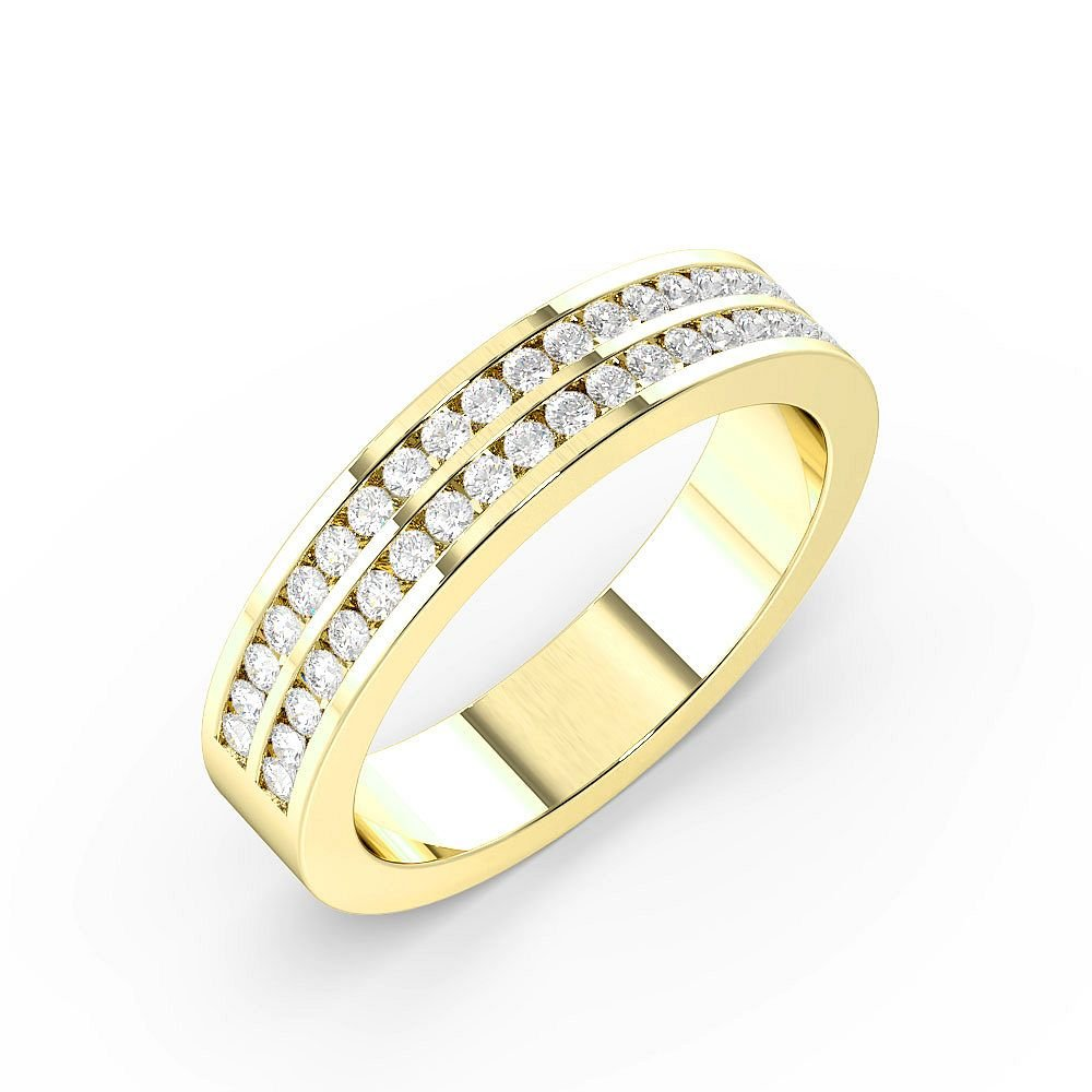Channel Set 2 Rows Half Eternity Diamond Rings (4mm)