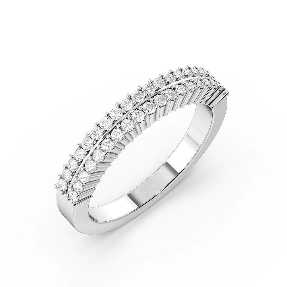 Round Cut 2 Rows Half Eternity Diamond Rings (3mm)