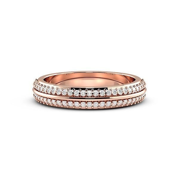 Pave Setting 2 Rows Womens Diamond Wedding Rings (1.9mm)