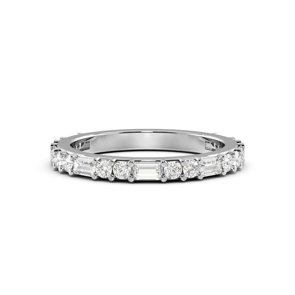 Baguette and Round Cut Half Eternity Diamond Rings (2.1mm)