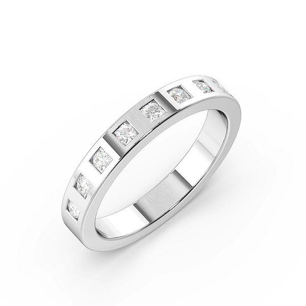 Flush Setting Square Slot Womens Diamond Wedding Rings (1.7mm)