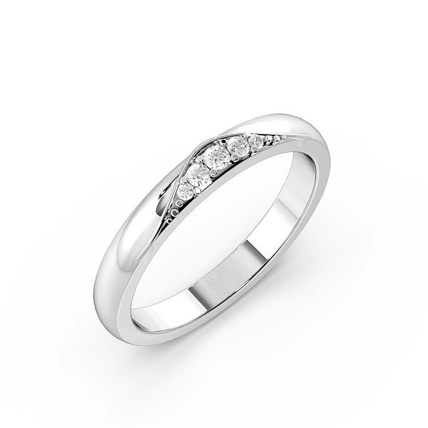 Pave Setting Modern Womens Diamond Wedding Rings (1.8mm)
