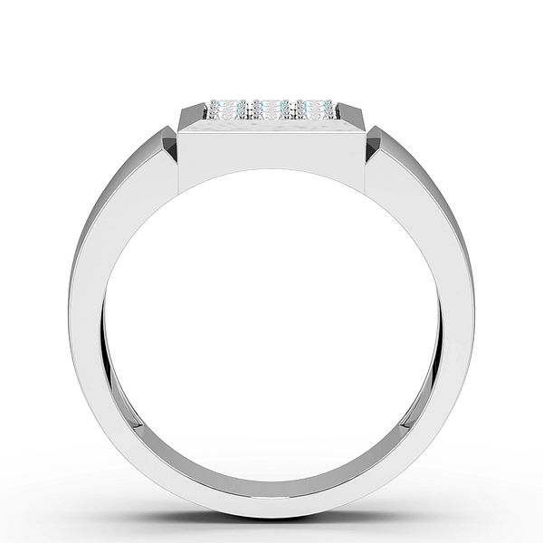 Pave Setting Square Cluster Mens Diamond Rings (2.8mm)