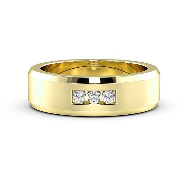 Channel Set 3 Diamond Bevelled Edge Mens Wedding Rings (1.9mm)
