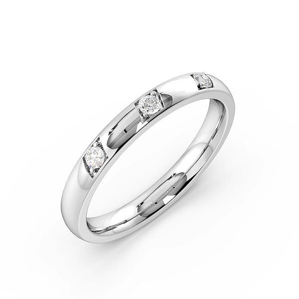 Pave Setting 3 Diamond Womens Diamond Wedding Rings (1.8mm)