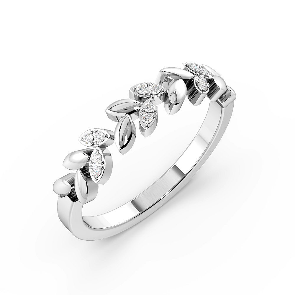 Round Cut Pave Setting Leaf Designer Diamond Rings (4.2mm)