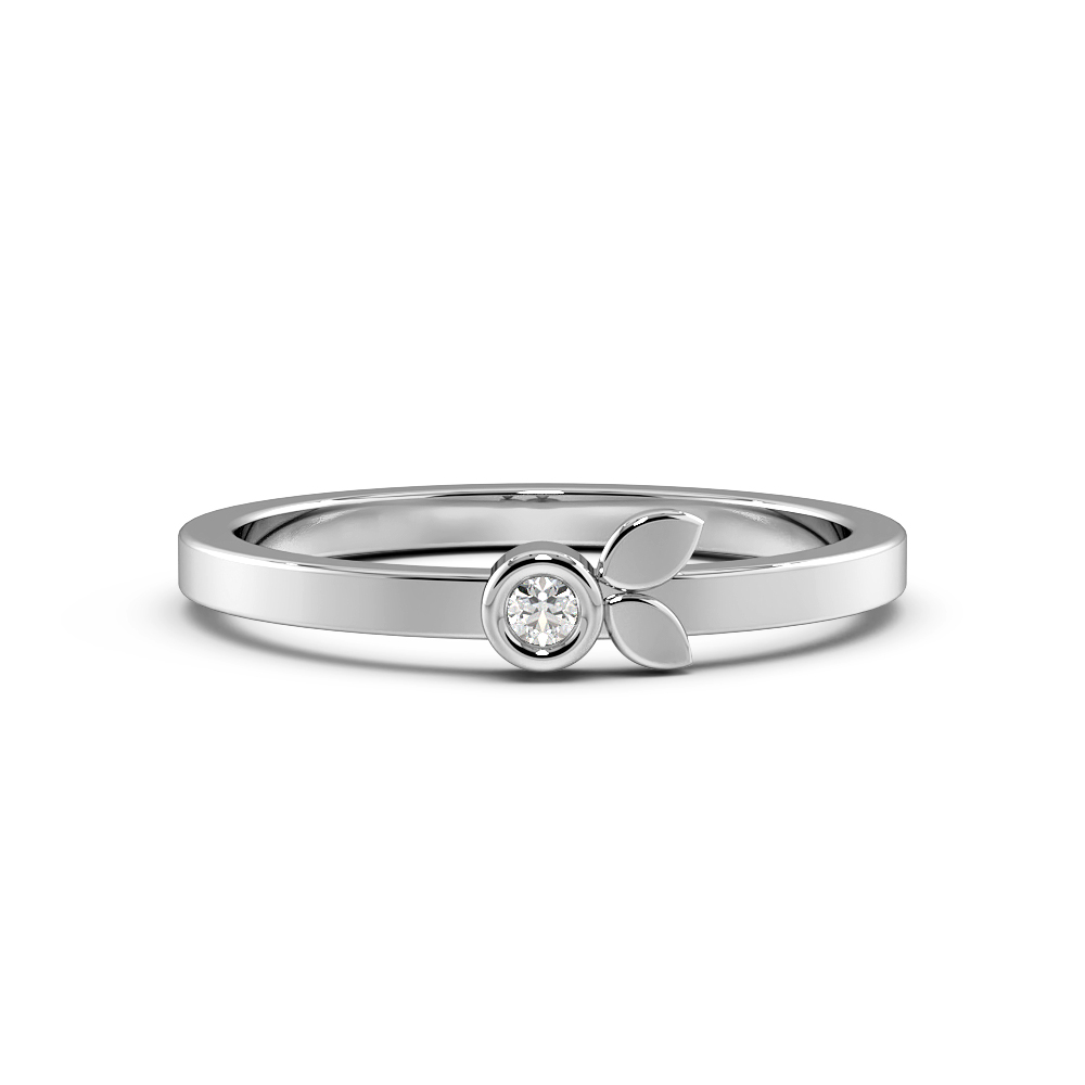 Bezel Setting Diamond Leaf Band Designer Diamond Rings (4.2mm)