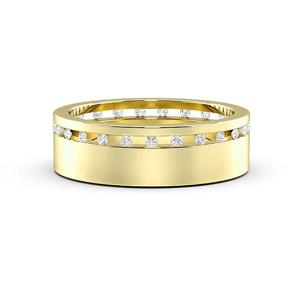 Channel Set Wide Band Mens Diamond Set Wedding Rings (1.7mm)