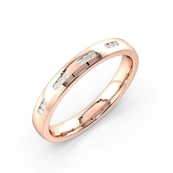 Channel Set Cluster of Three Womens Diamond Wedding Rings (1.7mm)