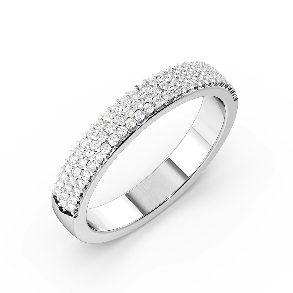 Pave Setting 3 Rows Half Eternity Diamond Rings (3.4mm)