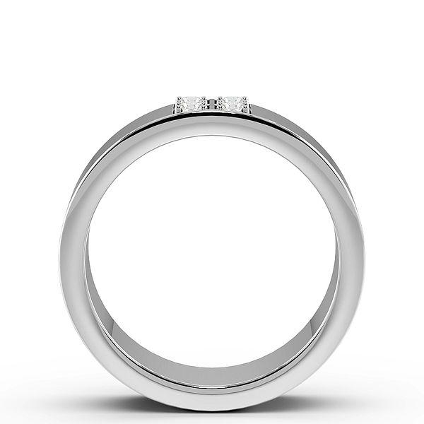 4 Diamond Square Cluster Mens Diamond Set Wedding Rings (1.8mm)