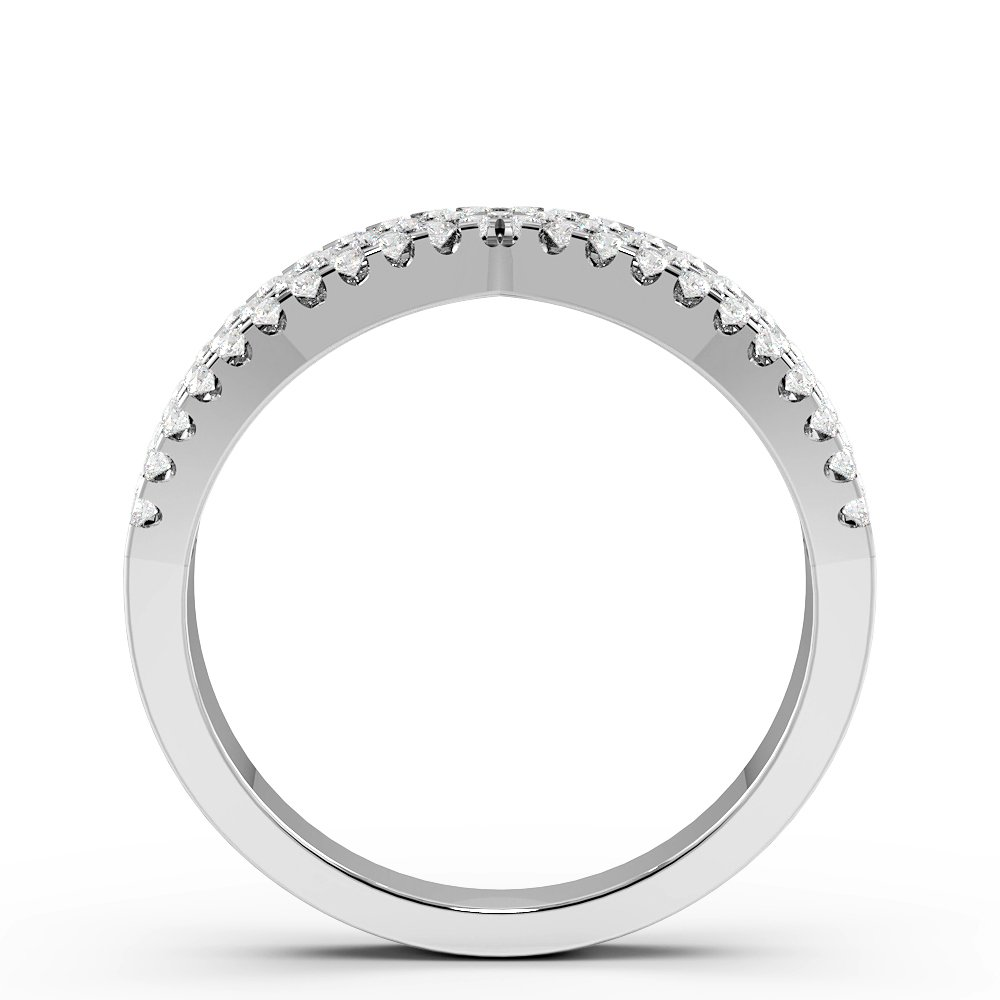 Pave Setting 3 Rows Designer Diamond Rings (6mm)