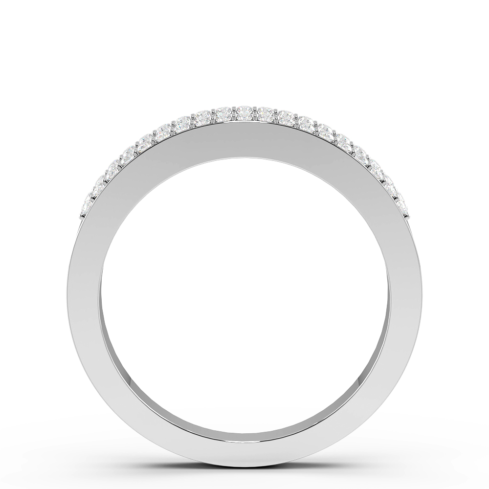 Baguette and Round Pave Setting Popular Designer Diamond Rings (4.2mm)