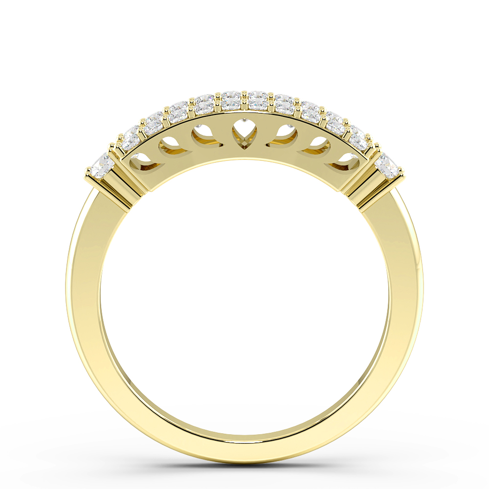 Baguette and Round Pave Setting Modern Style Designer Diamond Rings (5.4mm)