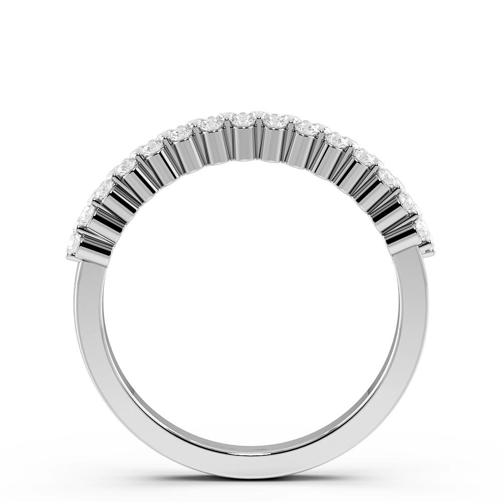 Round Cut 2 Rows Half Eternity Diamond Rings (2.8mm)