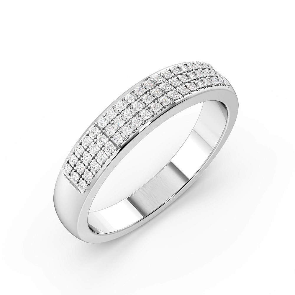Pave Setting 3 Rows Half Eternity Diamond Rings (4mm)
