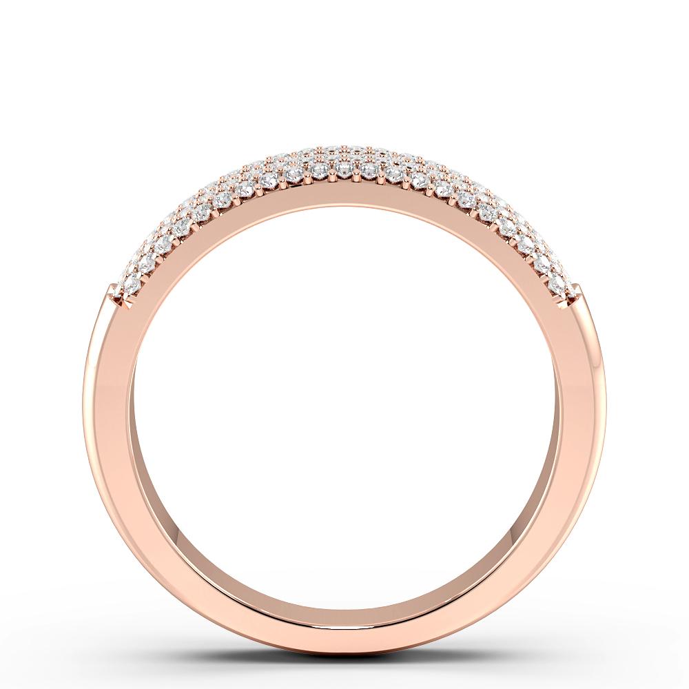 Pave Setting Twin Band Half Eternity Diamond Rings (6mm)