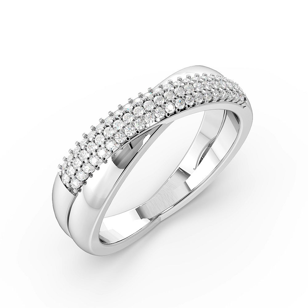 Cross Over 3 Rows Diamond Half Eternity Diamond Rings (5.9mm)