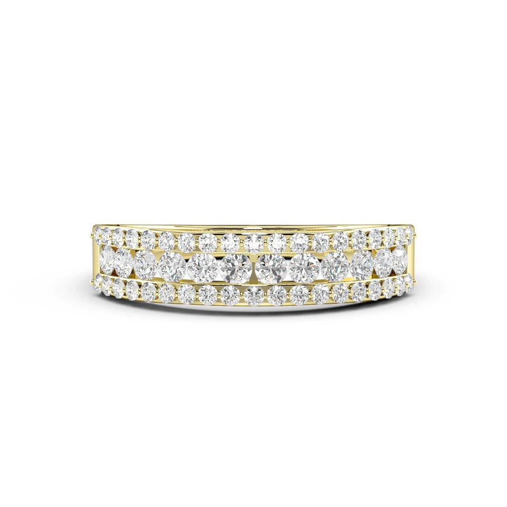 Pave Setting Cluster Half Eternity Diamond Rings (4.4mm)