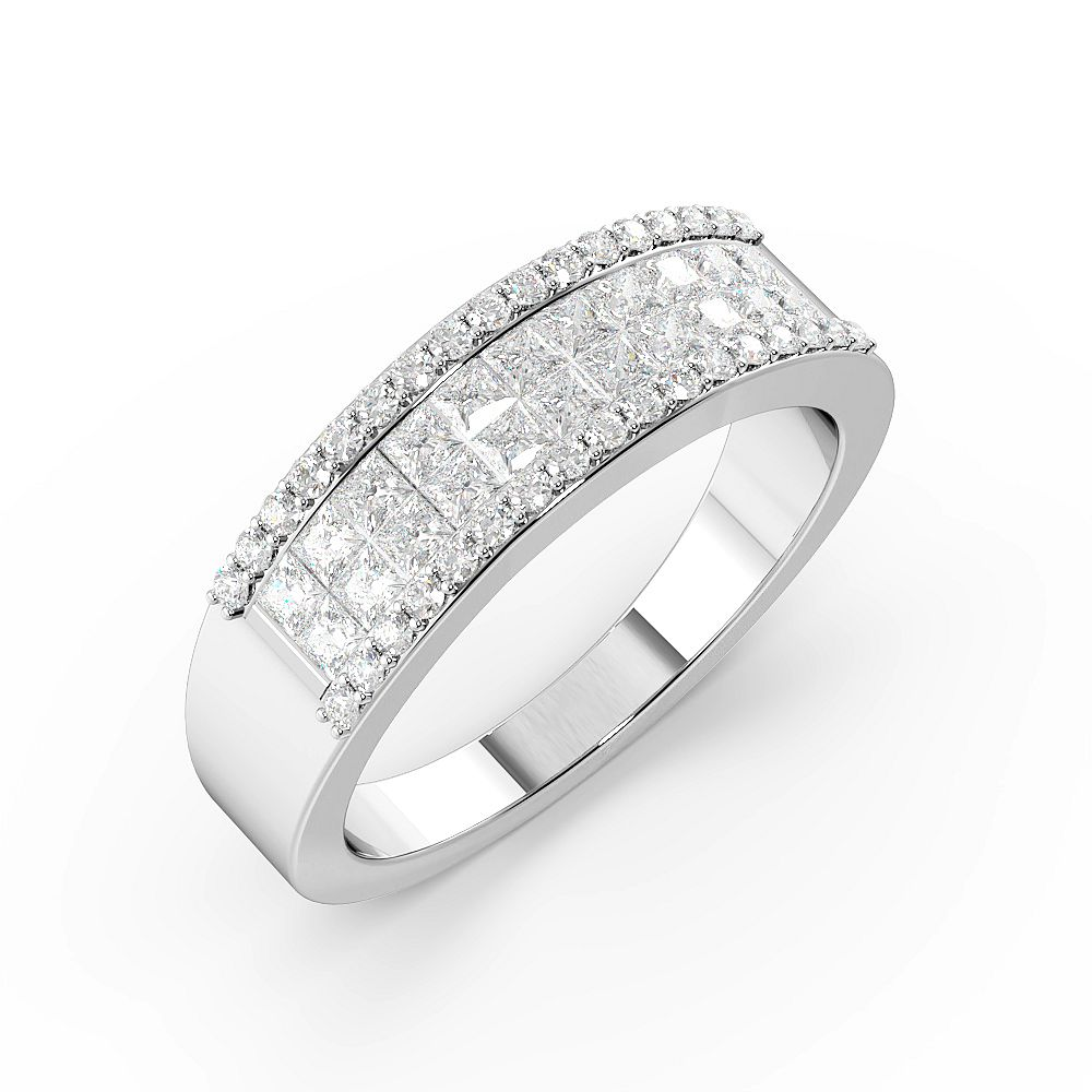 Princess Pave Setting Cluster Half Eternity Diamond Rings (6mm)