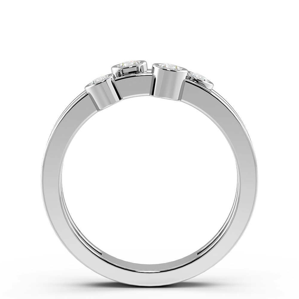 Bezel Setting 4 Diamond Designer Diamond Rings (5.7mm)