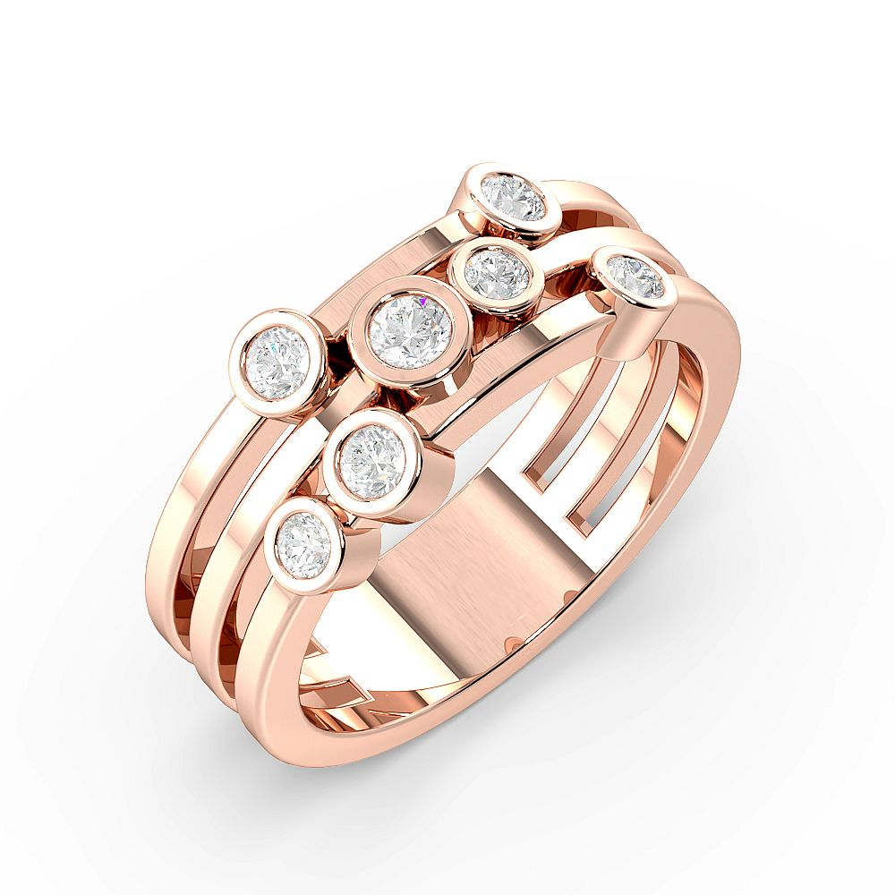 Bezel Setting 7 Diamond Designer Diamond Rings (7.9mm)