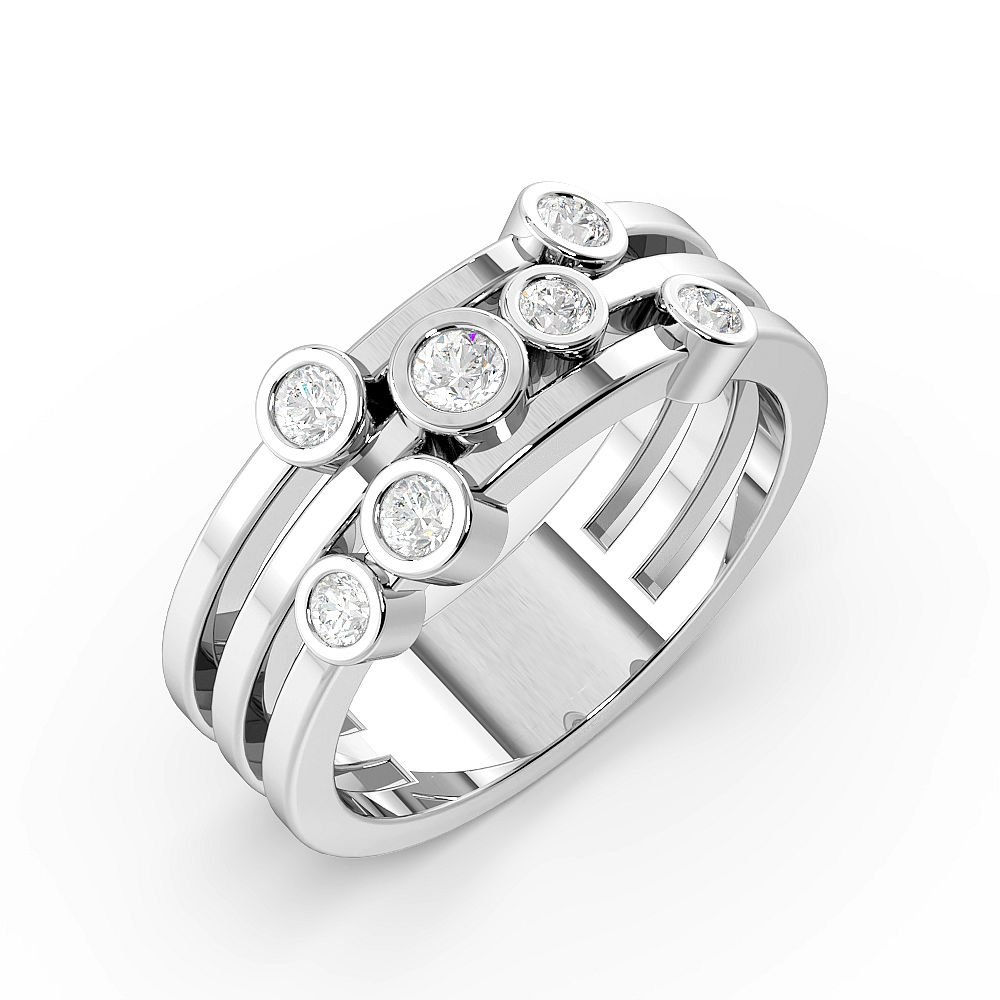 Bezel Setting 7 Diamond Designer Diamond Rings (7.9mm)