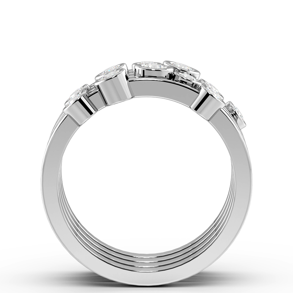Bezel Setting Multiple Diamonds Designer Diamond Rings (9.7mm)