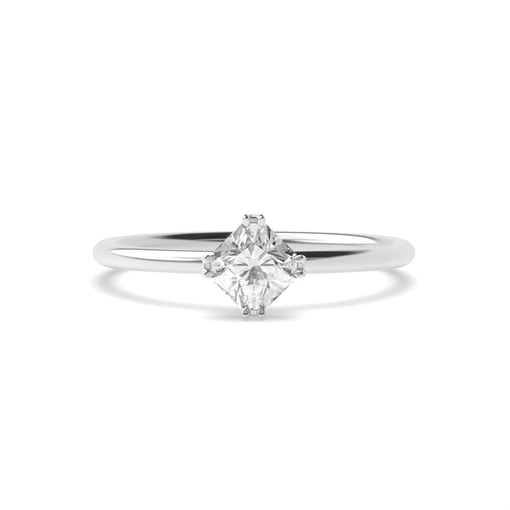 Princess Shape Double Claw Solitaire Diamond Engagement Ring