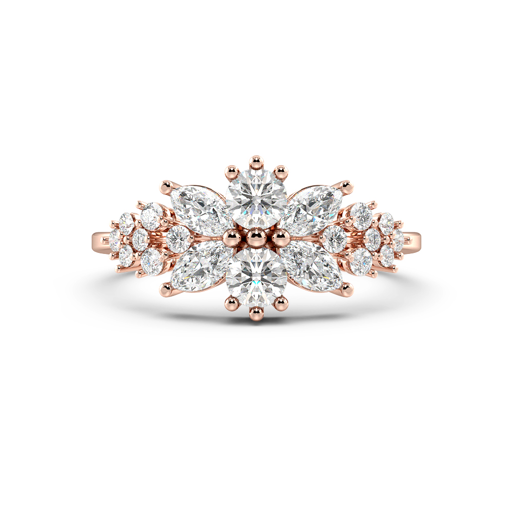 Marquise & Round Bursting Flower Cluster Diamond Rings (9.8mm)