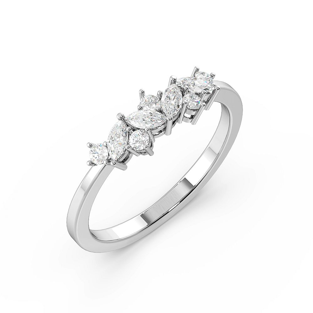 Marquise and Round Abstract Diamond Cluster diamond Rings