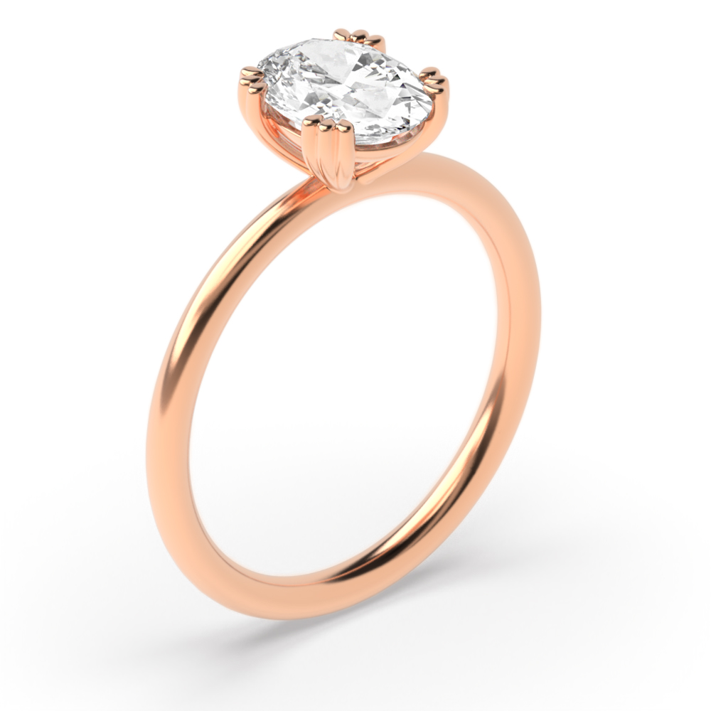 Oval Shape Double Claw Delicate Solitaire Diamond Engagement Ring